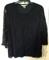TanJay Women's Career Top Black Lace Overlay Blouse Lined Size XL
