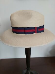 Genuine Olney Panama hat. Straw. Immaculate. Navy/scarlet band. Small 6 3/4