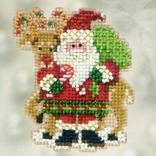 Mill Hill Santa and Rudolph Beaded Ornament Kit 2012 Winter Holiday Series