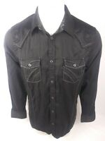 Roar Signature Mens Button Down Shirt Sz M Embroidered Distressed Black