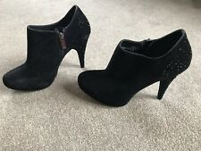 "56ad639483 New Look Black Rhinestone Suede Ankle Boots Size 4 High Heel 4"" EUR37  Stilettos"