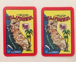 Pair Of Miniature California (The Golden State) Souvenir Swap Cards USA