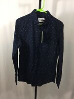 NWT Mens Size Small Goodfellow & Co. Long Sleeve Button Down Blue Printed Shirt