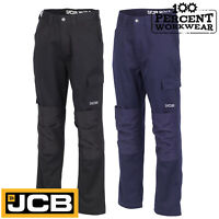 JCB Work Wear Essential Cargo Combat Trousers Pants Polycotton Knee Pad Pockets