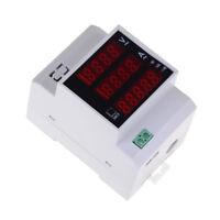 Lab din rail led ac voltmeter ammeter volt amp meter gauge 80-300v 0-100a A Fw