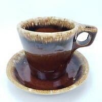 Hull Oven Proof USA Brown Mirror Drip Coffee Mug Cup Sauser Vintage
