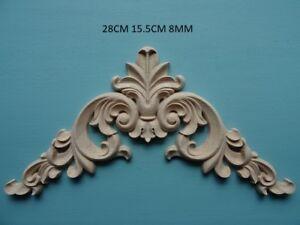 Decorative wooden scroll center applique furniture moulding onlay wooden D211L