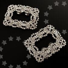 Sparkling Wedding Bridal Diamante Crystal Shoe Clip Party High-Heel Square Decor