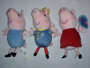 3 x pepper pig plush toys