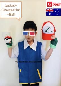 Kid Pokemon Ash Ketchum Pokemon Go Jacket +Gloves +Hat+Ball Cosplay Full Costume