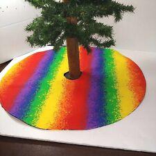 "Handmade Mini 18"" Christmas tree skirt Rainbow Birthday Balloons  pride"