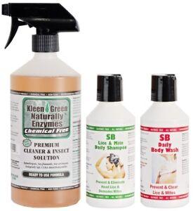Kleen Green 24oz Insect Control Spray & SB Lice & Mite Shampoo & Body Wash 250ml