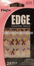 FING'RS* EDGE 24 Glue/Stick-On Nails PINK+YELLOW+BLUE+BLACK Medium #31120 6/9