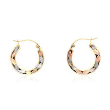 14k Yellow Rose and White Gold Tri-Color Textured Hinged Hoop Earrings