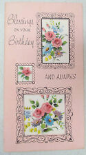 Vintage Birthday Greeting Card Cut Out Picture Frame Bouquet of Flowers Pink USA
