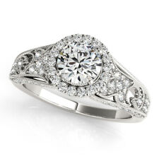 950 Platinum Diamond Engagement Wedding Ring Round Cut Solitaire 1.30 Ct Size 7