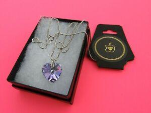 "SWAROVSKI Violet Pendant & Italian Sterling Silver 18"" Box Necklace From U.S.A."