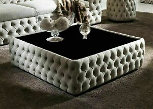 Upholstered Coffee Table Square Plain Top Chesterfield Footstool Foot Stool