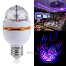 3W E27 RGB Crystal Ball Rotating LED Stage Light Bulbs Bar Club DJ Disco Party