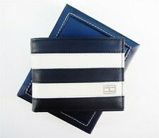 NEW TOMMY HILFIGER NAVY/BONE WORCHESTER LEATHER PASSCASE CREDIT CARD MEN WALLET