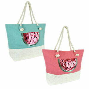 Canvas Paperstraw Panel Sequin Watermelon Beach Travel Picnic Shopping Bag