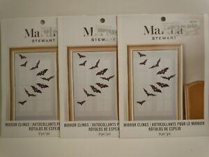 Martha Stewart Bat Vinyl Mirror Window Clings 9 pc 3 Pack Halloween Decorations