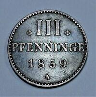Mecklenburg-Strelitz 3 Pfennig 1859 - Georg - vorzüglich / Xf