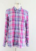 Vineyard Vines Womens Pink Blue Plaid Button Down Front Blouse Shirt Size 8