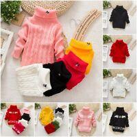 Kid Girl Children Sweater Pullover Knitting Turtleneck Cartoon Outerwear Sweater