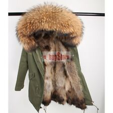 2018 Women's Real Raccoon Fur Collar & Lined Coat Long Hooded Parka Warm Jacket
