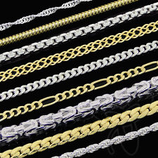 ECHTE 333 gelb GOLD KETTE oder 925 SILBER KETTE HERREN DAMEN HALSKETTE COLLIER