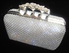 Silver Gold Diamante Flower Knuckle Evening bag Clutch Purse Party Bridal Prom