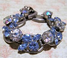 Vintage Verified Juliana Blue Rhinestone Bracelet Aurora Borealis Glass 517hz