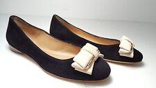 $475 size 6 Salvatore Ferragamo Rubia Black Suede Bow Ballet Flats Dress Shoes