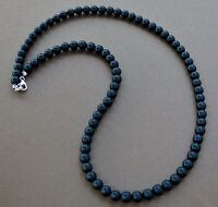 "Onyx Bead Necklace 6mm Sterling Silver Custom Length 16"" - 30"" SALE"