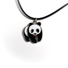 Halskette Anhänger Panda Bär Lederband schwarz 45cm Schmuck Mode Damen Kette