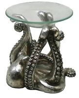 Octopus Shaped Tealight Candle Oil Warmer Tabletop Figurine Resin and Glass