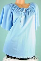 VTG Blue diamond pleat slouch top evening cocktail party blouse shirt Sz M L