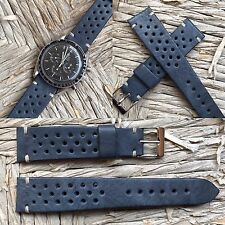 20 mm Military Blue Leather Rally Racing Strap cinturino for vintage chrono gmt