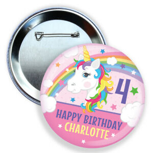 Personalised birthday badge PINK UNICORN