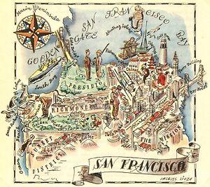 San Francisco Antique Vintage Pictorial Map (Postcard size)