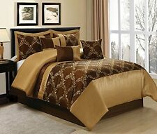King Size Comforter Set 7 Pc Brown Gold Designs Patterns Bed Skirt Pillow Shams