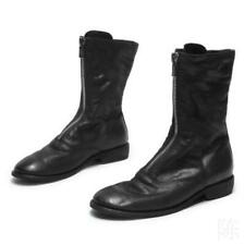 Women Real Leather Boots Chunky Low Heel Shoes Front Zip Ankle Chelsea Boots sz