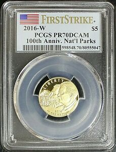 2016-W PCGS PR70DCAM $5 Gold National Parks Coin100th Anniversary First Strike
