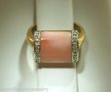 SOLID 14K YELLOW GOLD GENUINE NATURAL PINK CORAL 0.07CTS DIAMOND RING 7.0 #1B