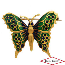 Italian Enamel 18K Yellow Gold Butterfly Pin Brooch NR