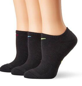 NIKE Women's 3 Pairs Pack  NO-SHOW socks BLACK Dri Fit Cushioned Cotton NEW!