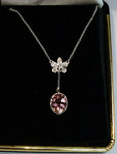 14k White Gold 3.88ctw Natural Oval Pink Tourmaline & Diamond Necklace