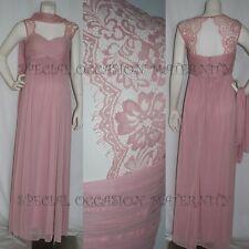 New Long Rose Pink Lace Cutout Maternity Dress Gown Chiffon MEDIUM Bridesmaids