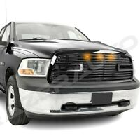 Big Horn 2+3x LED Gloss Black Replacement Grille+Shell for 09-12 Dodge RAM 1500
